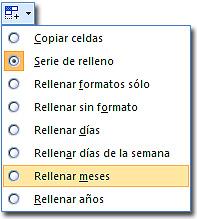 Rellenar fechas de Excel: Botón de opciones de relleno, mostrando la lista de opciones de fecha.