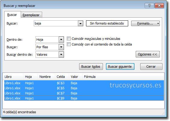Eliminar filas por un criterio en Excel: Cuadro diálogo de Buscar y reemplazar.