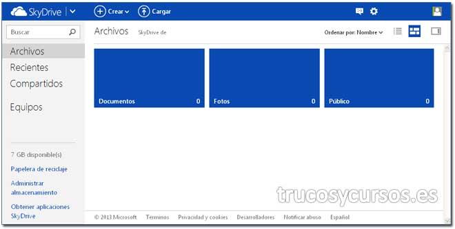 Entorno de Microsoft SkyDrive
