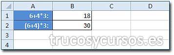 Prioridad de los operadores Excel: Celda B1 con fórmula 6+4*3 y celda B2 con fórmula (6+4)*3