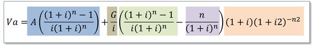 Fórmula del valor presente diferido de un gradiente aritmético