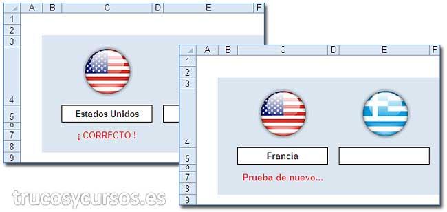 Banderas de los países: Celda C7 mostrando Correcto (Celda C5=Estados Unidos) y C7 mostrando Prueba de nuevo (C5=Francia)