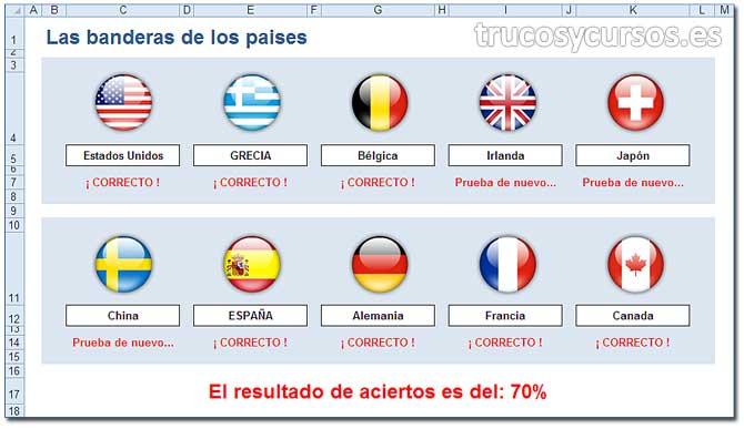 Cuestionario, juego: Banderas de los países en Excel