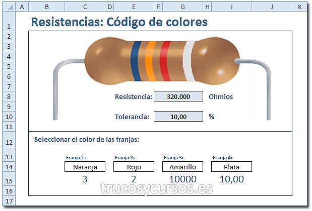 Simulador Excel: Código de colores de Resistencias en Excel