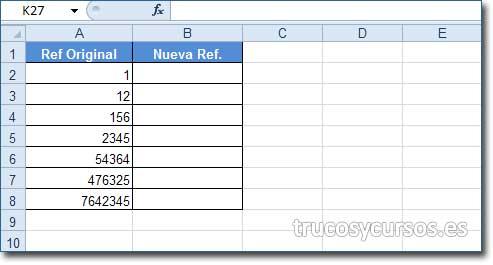 Rellenar con ceros a la izquierda un número en Excel: Hoja con rango A2:A9 para convertir