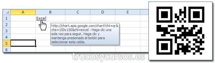 Código de barras QR en Excel: Celda B1 con hipervínculo al API Google para el mostrar el código QR.