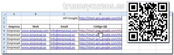 Código de barras QR en Excel: Celda D4 con hipervínculo al API Google concatenando el rango A4:C4.