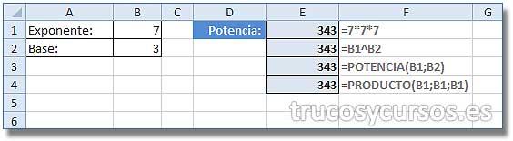 La potencia o exponente: Funciones Celda E3: =POTENCIA(B1;B2) y Celda E4: =PRODUCTO(B1;B1;B1)