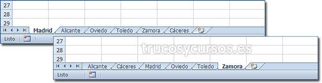 Ordenar las hojas por nombre en Excel: Libro con hojas sin ordenar y con hojas ordenadas (De la A la la Z).