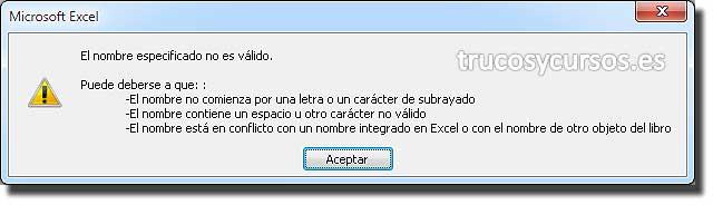 Palabras clave reservadas en Excel: Mensaje de error, Nombre de macro.