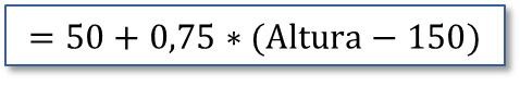 El peso ideal con Excel: Fórmula método