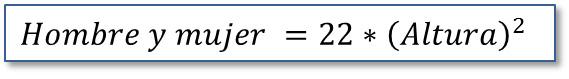 El peso ideal: Fórmula método Lemmens