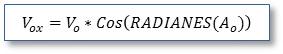Trayectoria de un proyectil: Fórmula Vox= Vo*Cos(RADIANES(Ao))