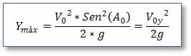 Fórmula: Ymáx=((Vo^2*Sen^2(Ao))/2*g