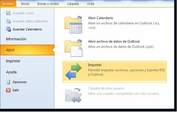 ¿Cómo exportar el calendario de Outlook a Excel? Opciones de importar de Abrir archivo