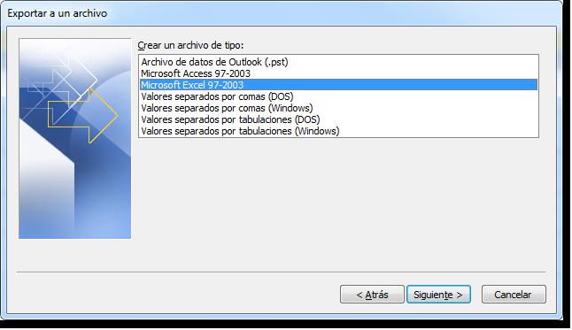 Paso 2 del asistente: Tipo de archivo.