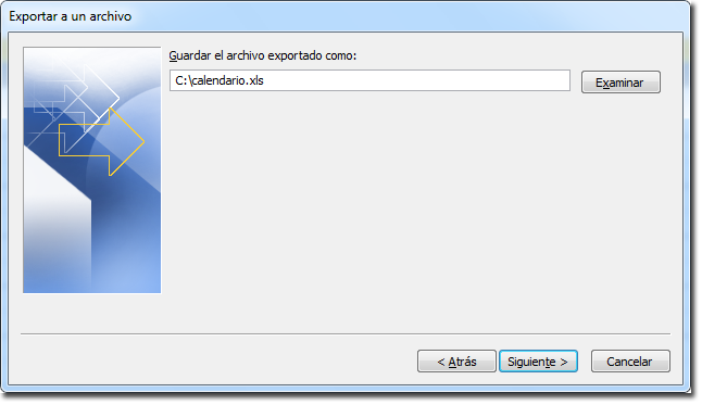 Paso 4 del asistente: Guardar exportación
