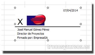 La línea de firma en Excel: Hoja Excel firmada