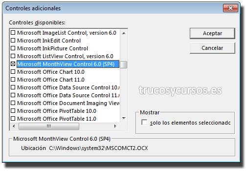 Ventana de controles adicionales: Microsoft MonthView Control 6.0