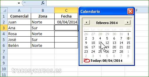 Control Calendario MonthView en Excel: Hoja con calendario para insertar fechas en columna C