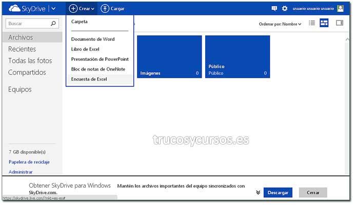 Encuesta con Excel Web App: Paso 2. Crear encuesta en Excel.