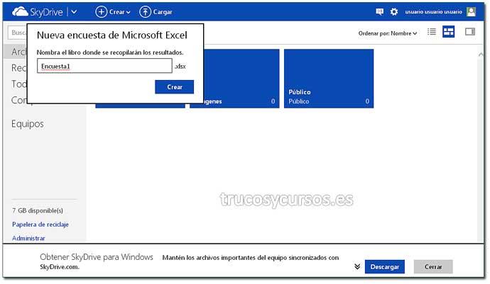Encuesta con Excel Web App: Paso 3. Crear encuesta en Excel.