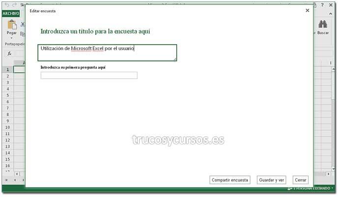 Encuesta con Excel Web App: Paso 4. Crear encuesta en Excel.