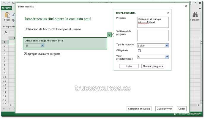 Encuesta en Excel Web App: Paso 5. Crear encuesta en Excel.
