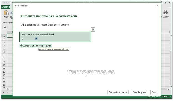 Encuesta en Excel Web App: Paso 6. Crear encuesta en Excel.