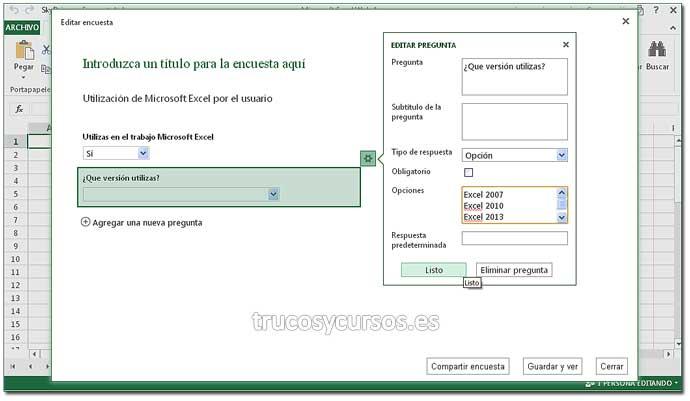 Encuesta en Excel Web App: Paso 7. Crear encuesta en Excel.