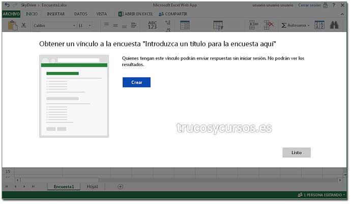 Encuesta en Excel Web App: Paso 9. Crear encuesta en Excel.