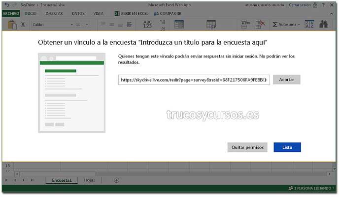 Encuesta en Excel Web App: Paso 10. Crear encuesta en Excel.