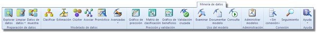 Minería de datos en Excel: Pestaña Minería de datos de la cinta de opciones