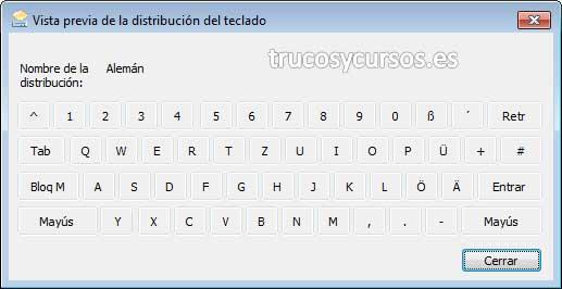 Escribir en otro idioma en Excel con el teclado español: Vista previa de teclado