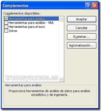 """La frecuencia en Excel: Cuadro de diálogo de Complementos, con """"Herramientas para análisis"""" activada."""