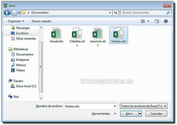 Archivo ods Hoja de cálculo de OpenDocument en Excel: Ventana abrir con tipo Hoja de cálculo de OpenDocument (*.ods)