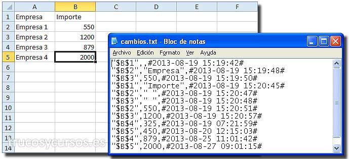 Cambios en la hoja del libro Excel: Hoja y archivo cambios.txt con registro de cambios