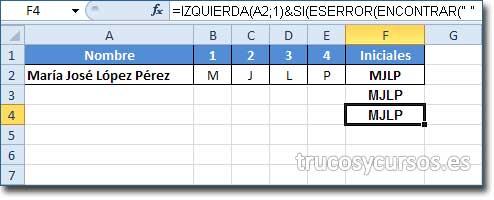 Celda F4 mostrando MJLP correspondiente a las iniciales de A2 con corrección de errores