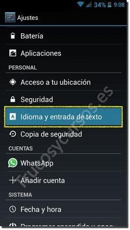 Ventana Android teclado: Idioma y entrada de texto