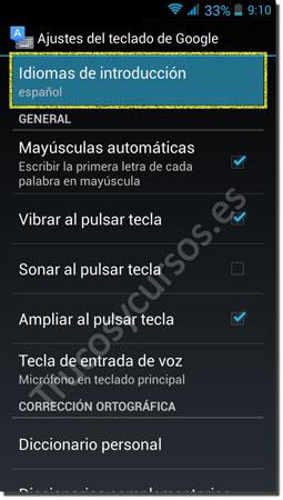 Ventana Android teclado: Idiomas de introducción