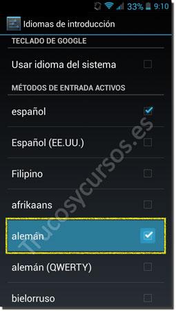 Ventana Android teclado: Idioma nuevo deseado
