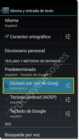 Ventana Android teclado: Dictado por voz de Google