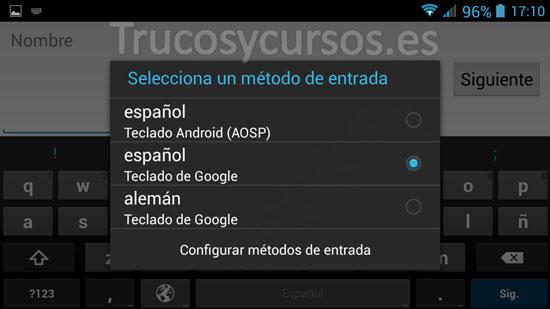 Proceso de cambio del idioma de teclado predeterminado android