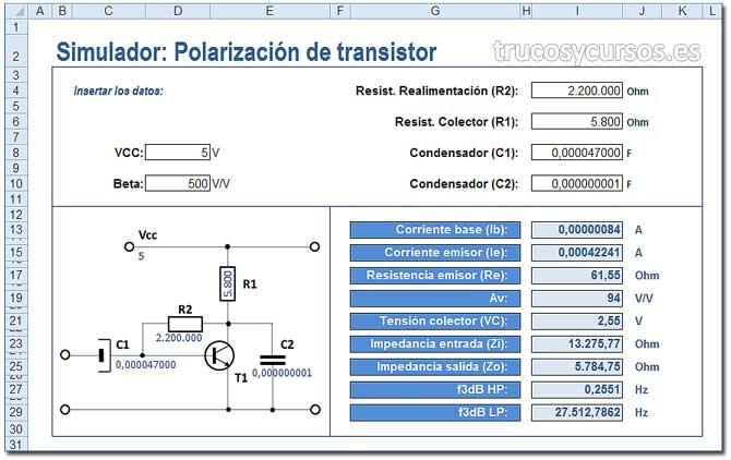 Simulador de polarización del transistor en Excel