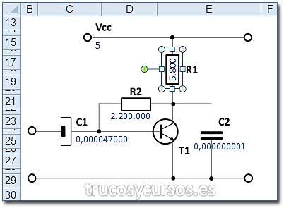 Simulador de Polarización del transistor: Cuadro de texto con fórmula =I6 (R1)