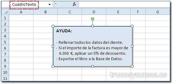 Mensaje de ayuda en Excel: Cuadro de texto con el mensaje de ayuda