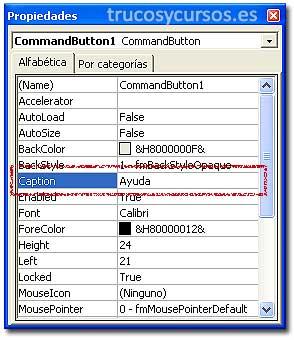 Mensaje de ayuda en Excel: Panel de propiedades del control: botón