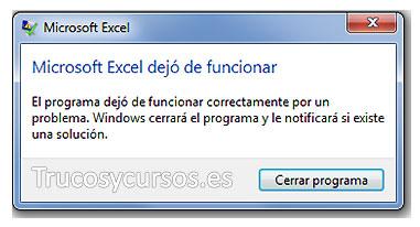 Excel no responde, se bloquea o deja de funcionar, mensaje de error