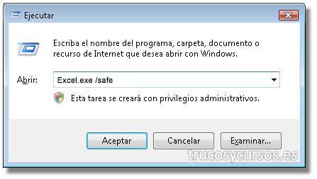 """Abrir Excel: Cuadro de diálogo ejecutar con la opción de apertura """"Excel /e""""."""