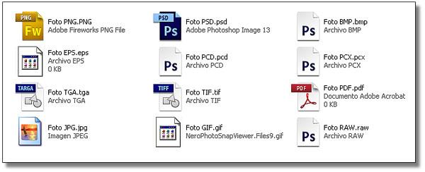 Formatos de imagen soportados por Excel